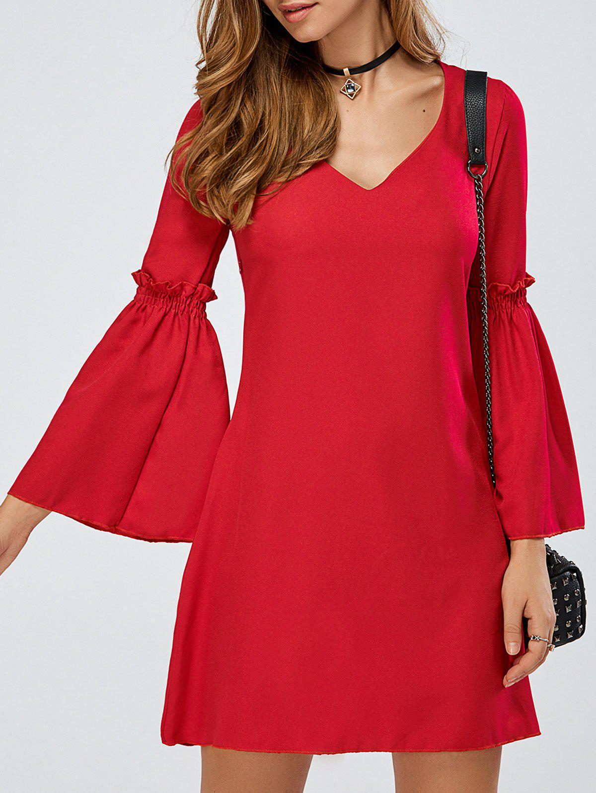 V-Neck Bell Sleeve Ruffle Short A Line Dress - RED S