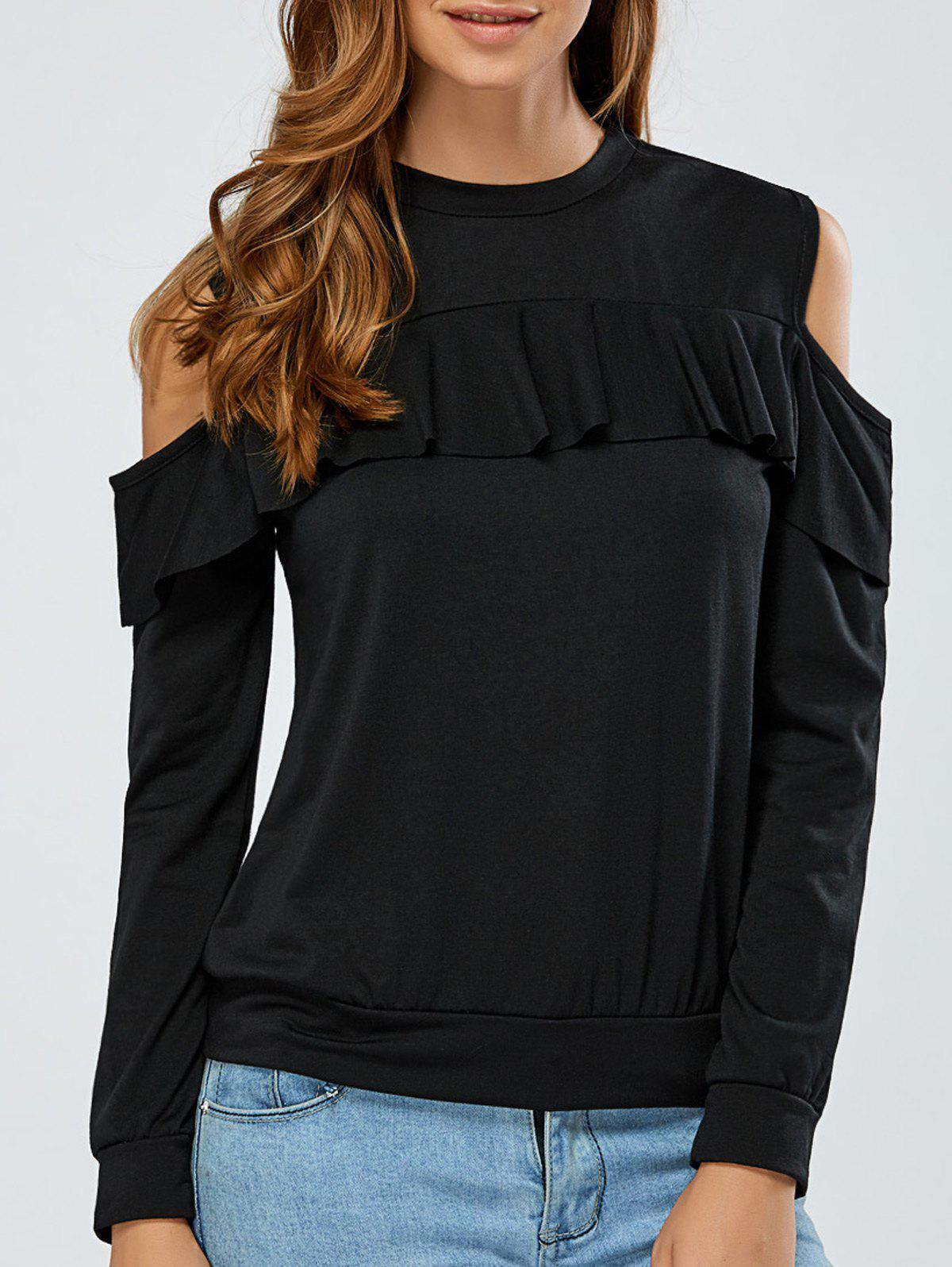 Buy Cold Shoulder Flounce Overlay Sweatshirt BLACK