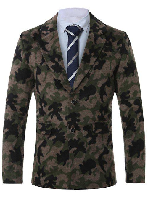 Single-breasted revers Camouflage Imprimer Manteau en laine - Vert Armée 4XL