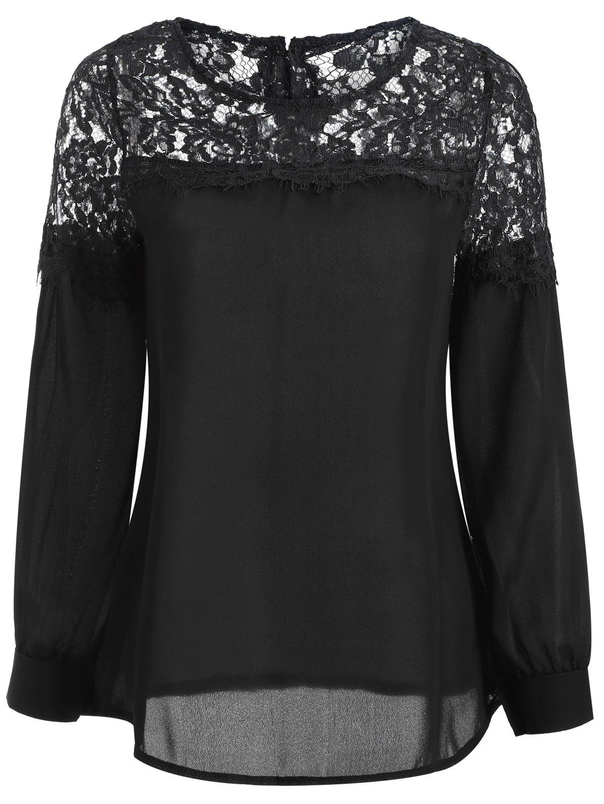 Sheer Lace Yoke Blouse - BLACK M