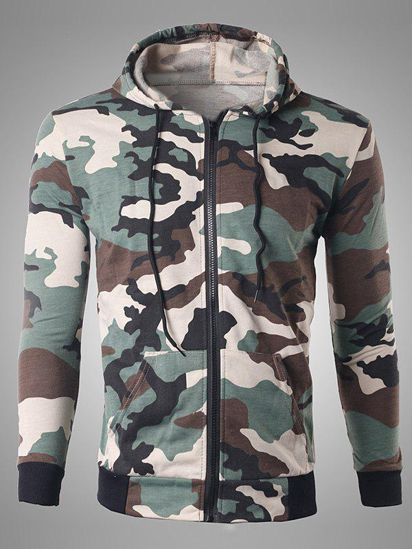 Pocket Design Zip Up Camouflage Hoodie - OFF WHITE L