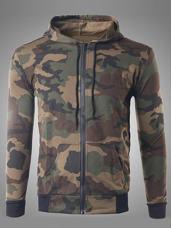 Pocket Design Zip Up Camouflage Hoodie - COFFEE XL