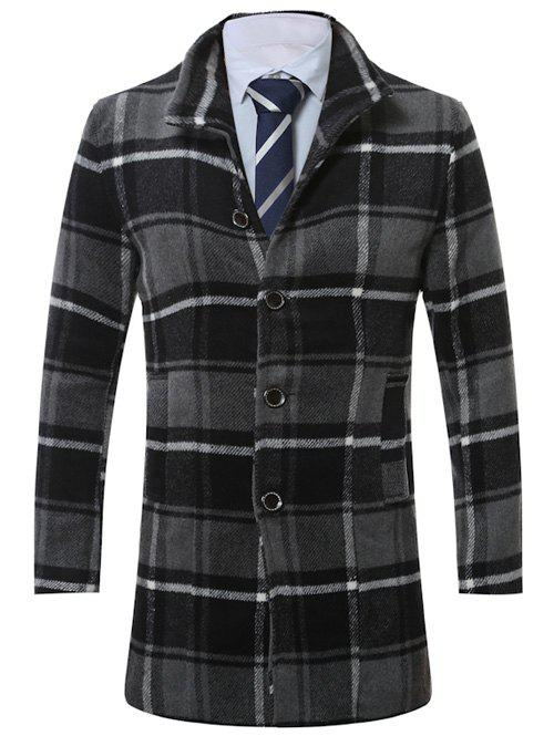 Single-breasted Lapel Vintage Tartan Manteau en laine - gris 2XL