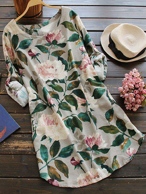 Round Neck Long Sleeve Floral Linen Blouse Dress - FLORAL ONE SIZE