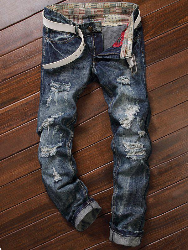 Five-Pocket Zipper Fly Straight Leg Frayed Ripped Jeans cartoon embroidered appliques pocket zipper fly ripped jeans