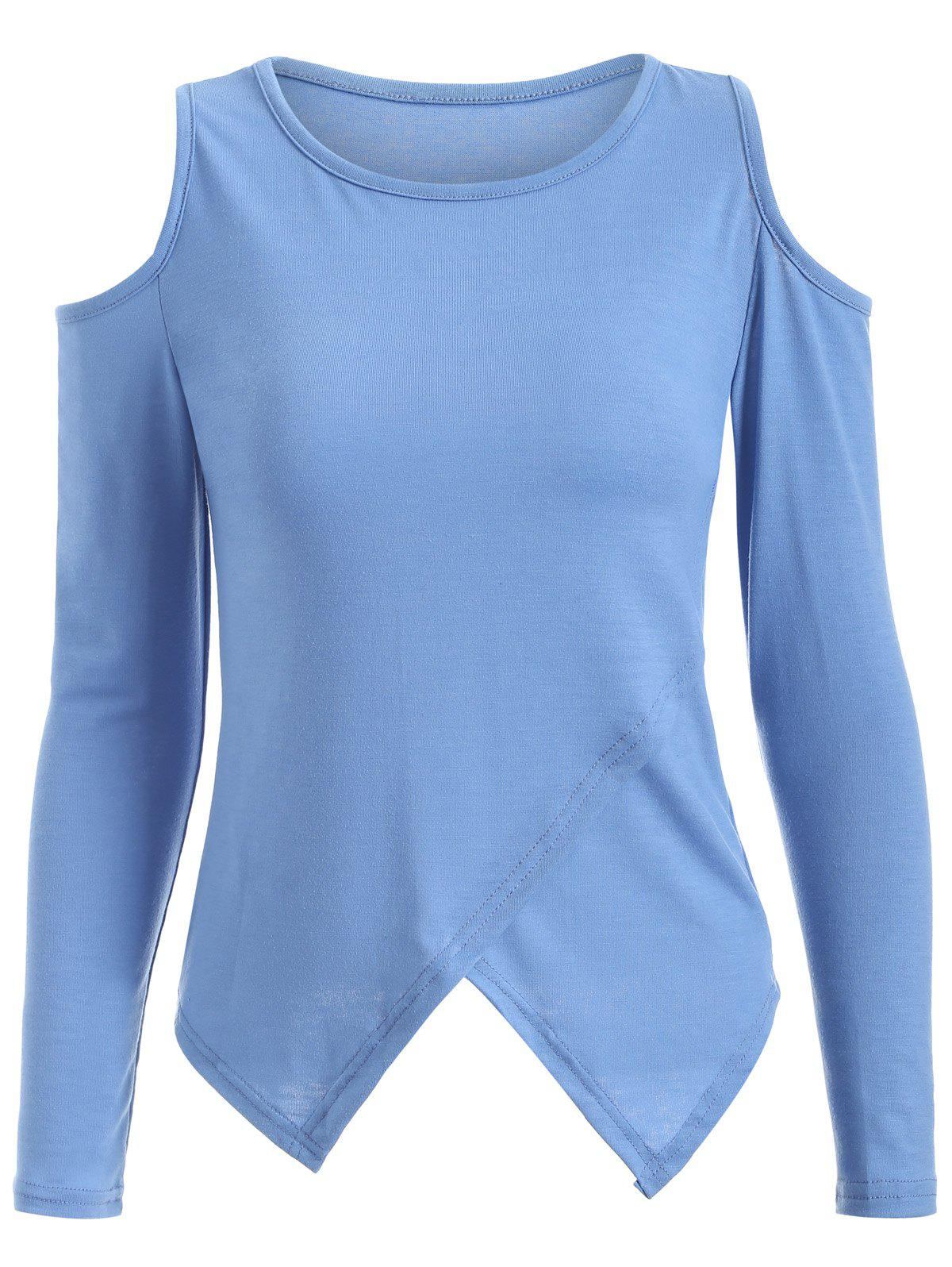 Cold Shoulder Long Sleeve T-Shirt - BLUE S