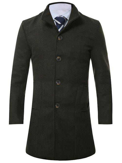 Single Breasted Stand Collar Longline Wool CoatMen<br><br><br>Size: M<br>Color: ARMY GREEN