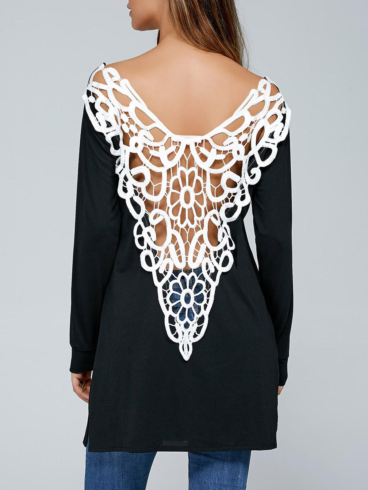 Cutwork Side Slit Backless T-shirt - Noir M