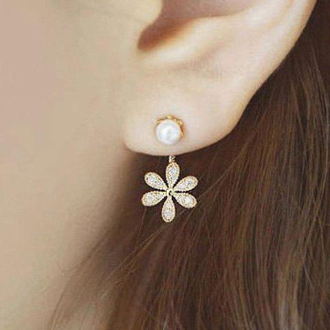 Artificial Pearl Rhinestone Flower Earrings rhinestone artificial pearl flower necklace