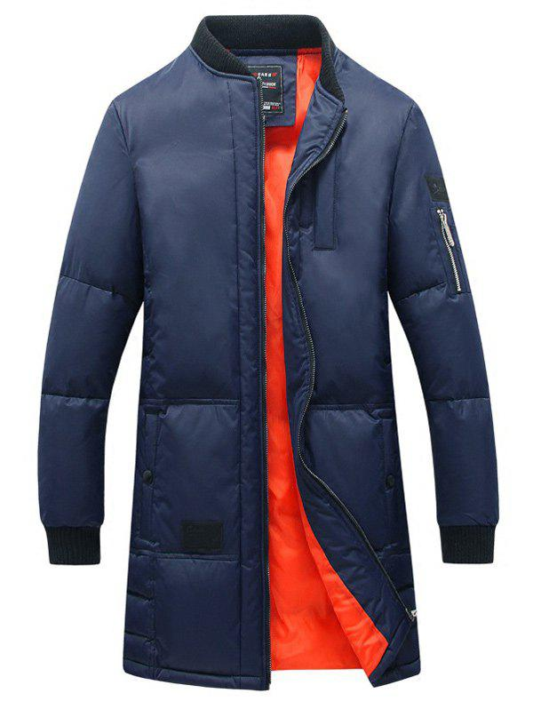 Rib Splicing Stand Collar Zip-Up Lengthen Cotton-Padded CoatMen<br><br><br>Size: XL<br>Color: BLUE
