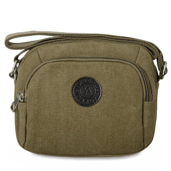 Zipper Dark Colour Canvas Crossbody Bag - KHAKI