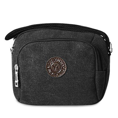 Zipper Dark Colour Canvas Crossbody Bag - BLACK