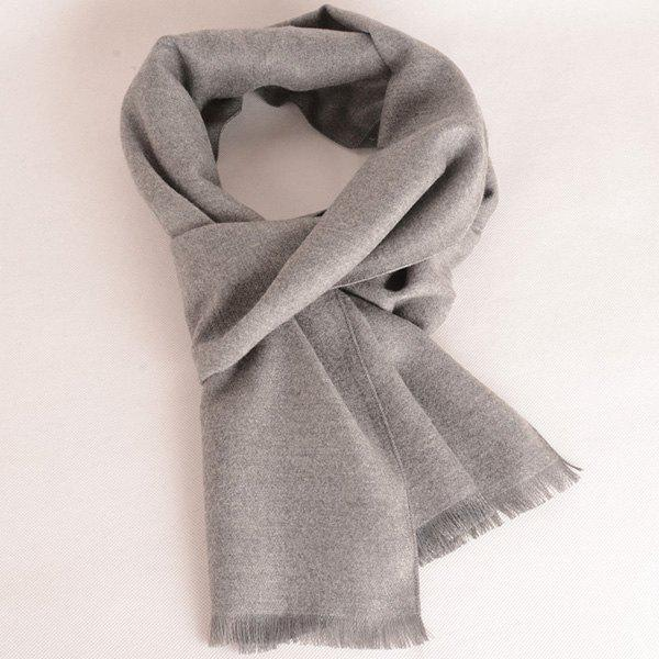 Fringed Edge Fleece Scarf - LIGHT GRAY