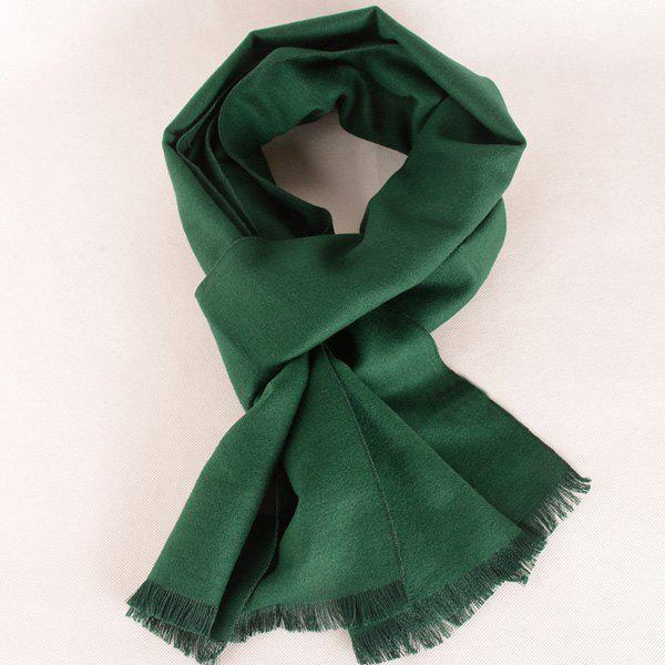 Fringed Edge Fleece Scarf - BLACKISH GREEN