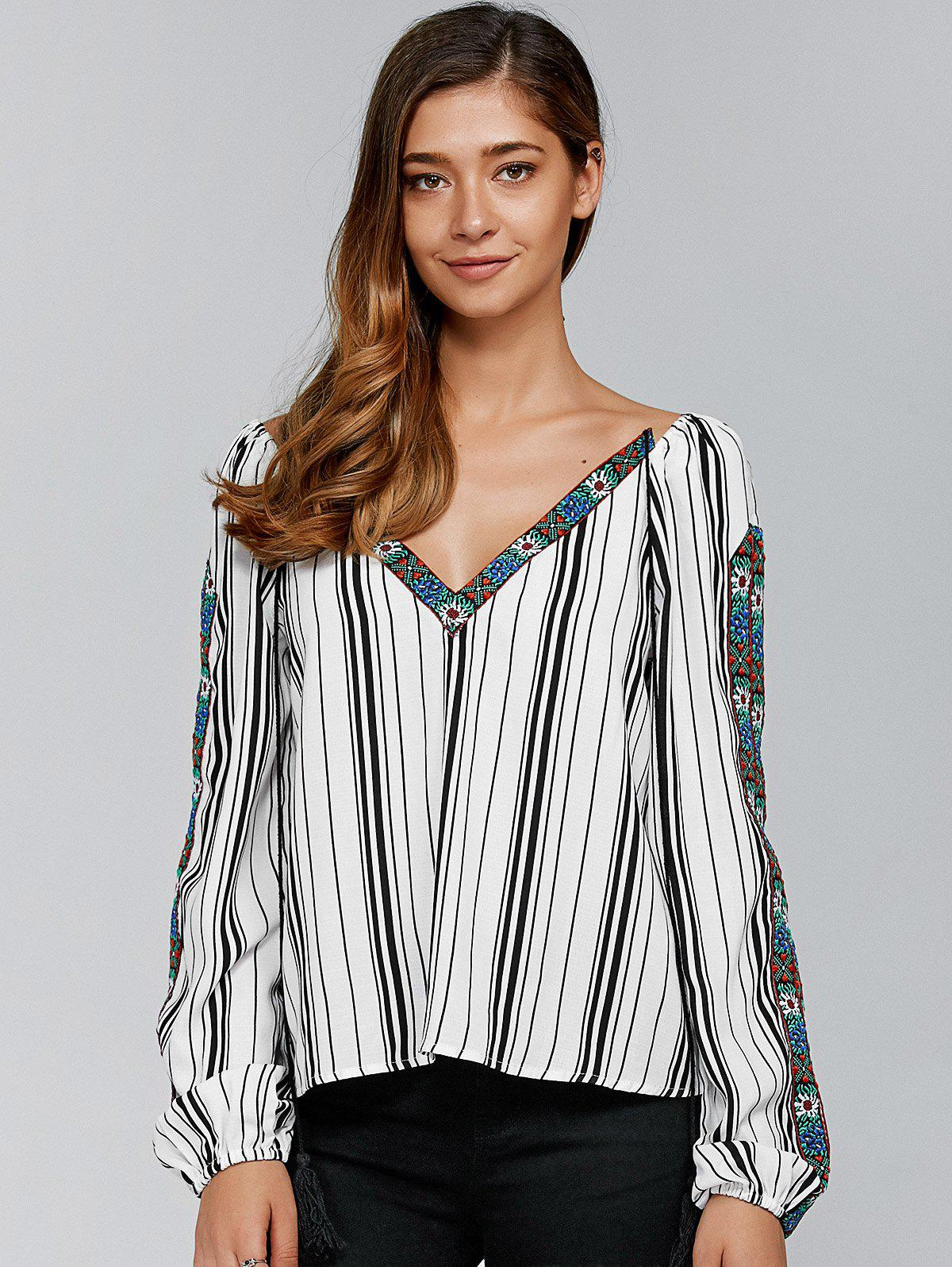 Embroidery Trim Striped Blouse - STRIPE M