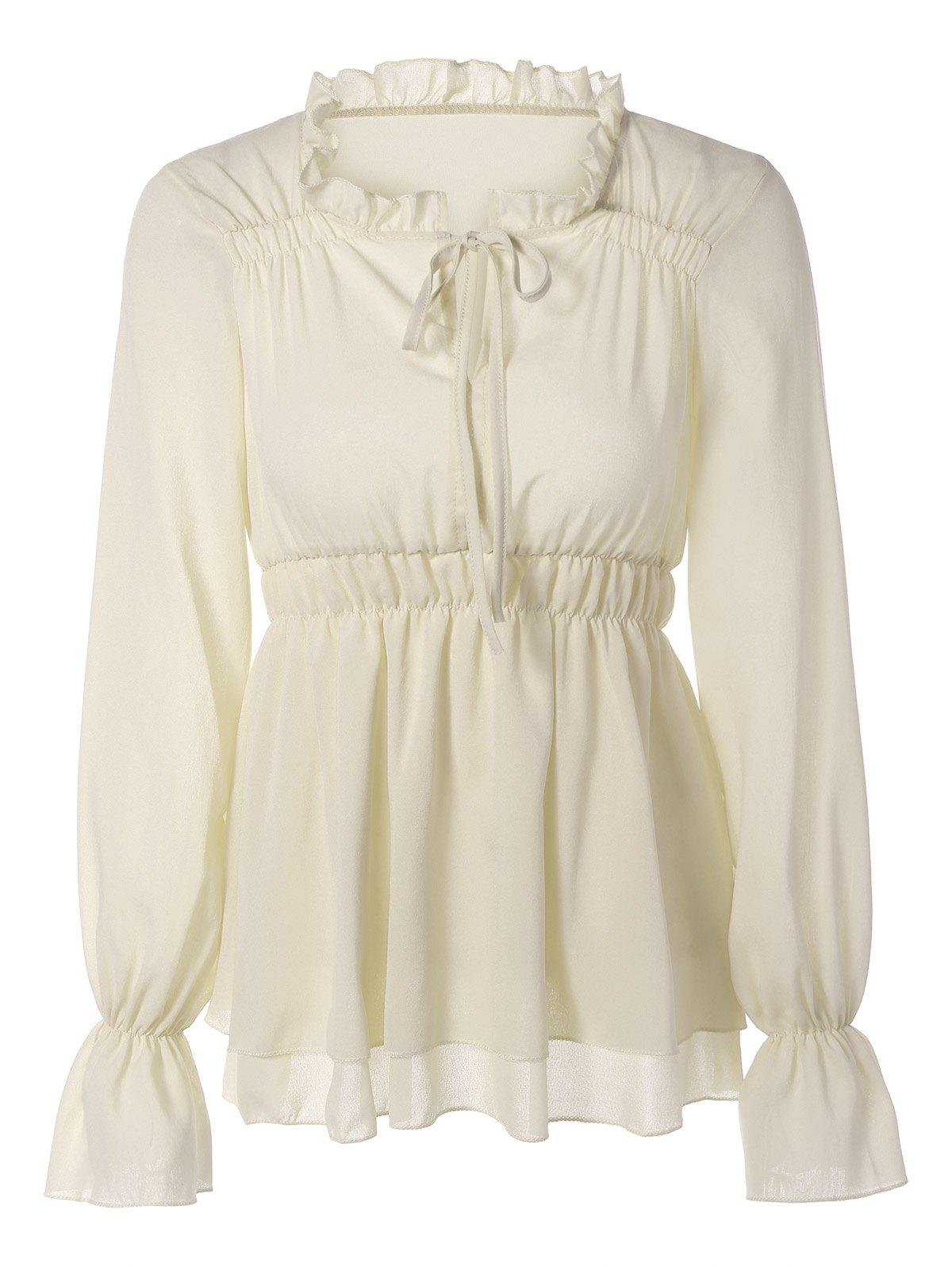 Puff Sleeves Tied-Up Ruffled Blouse - WHITE S
