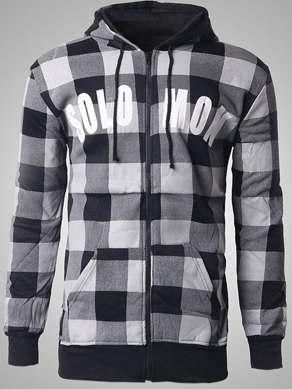 Letter Print Zip-Up Plaid Hoodie - BLACK XL