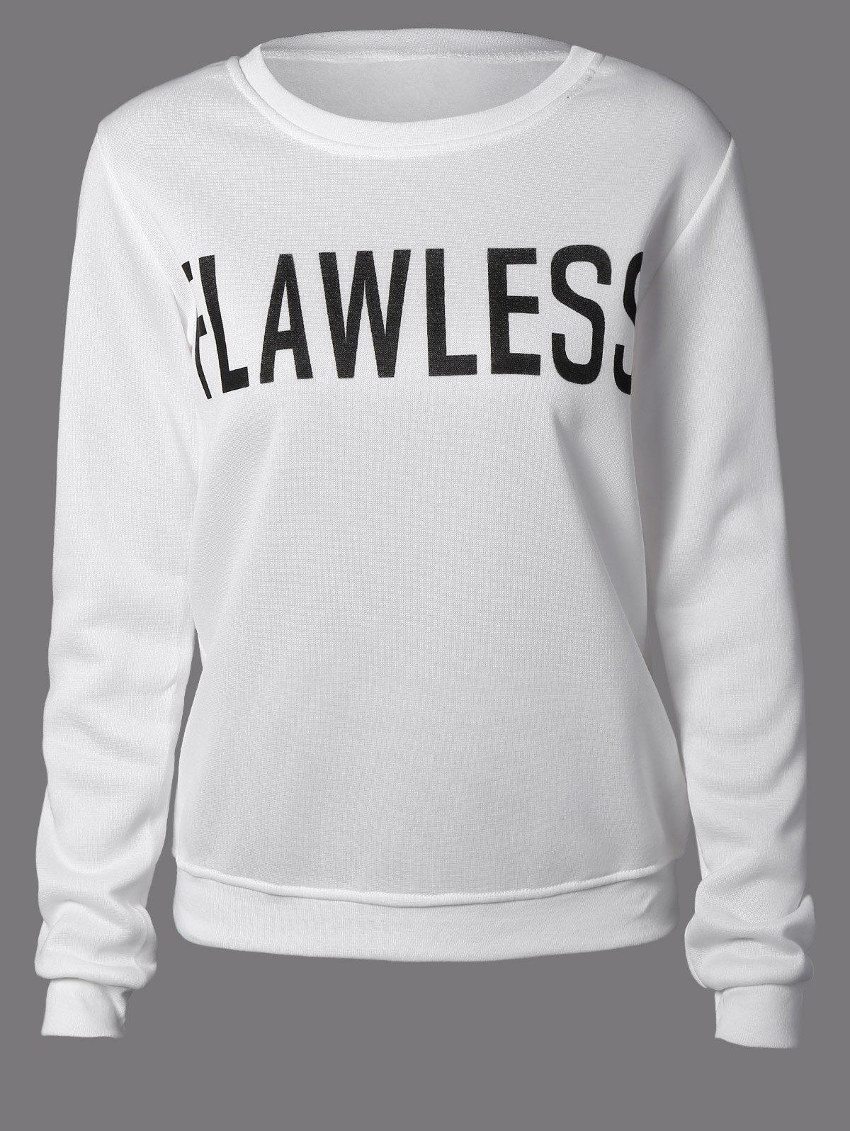 Flawless Graphic Flocking Sweatshirt - WHITE S