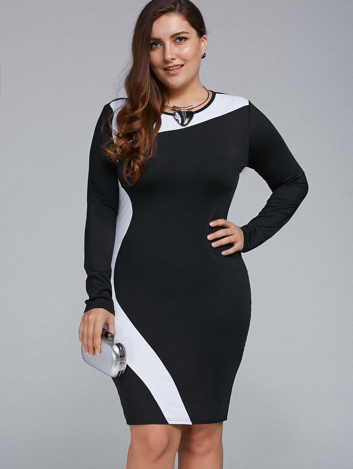 Robe longue tenue Bodycon - Blanc 6XL