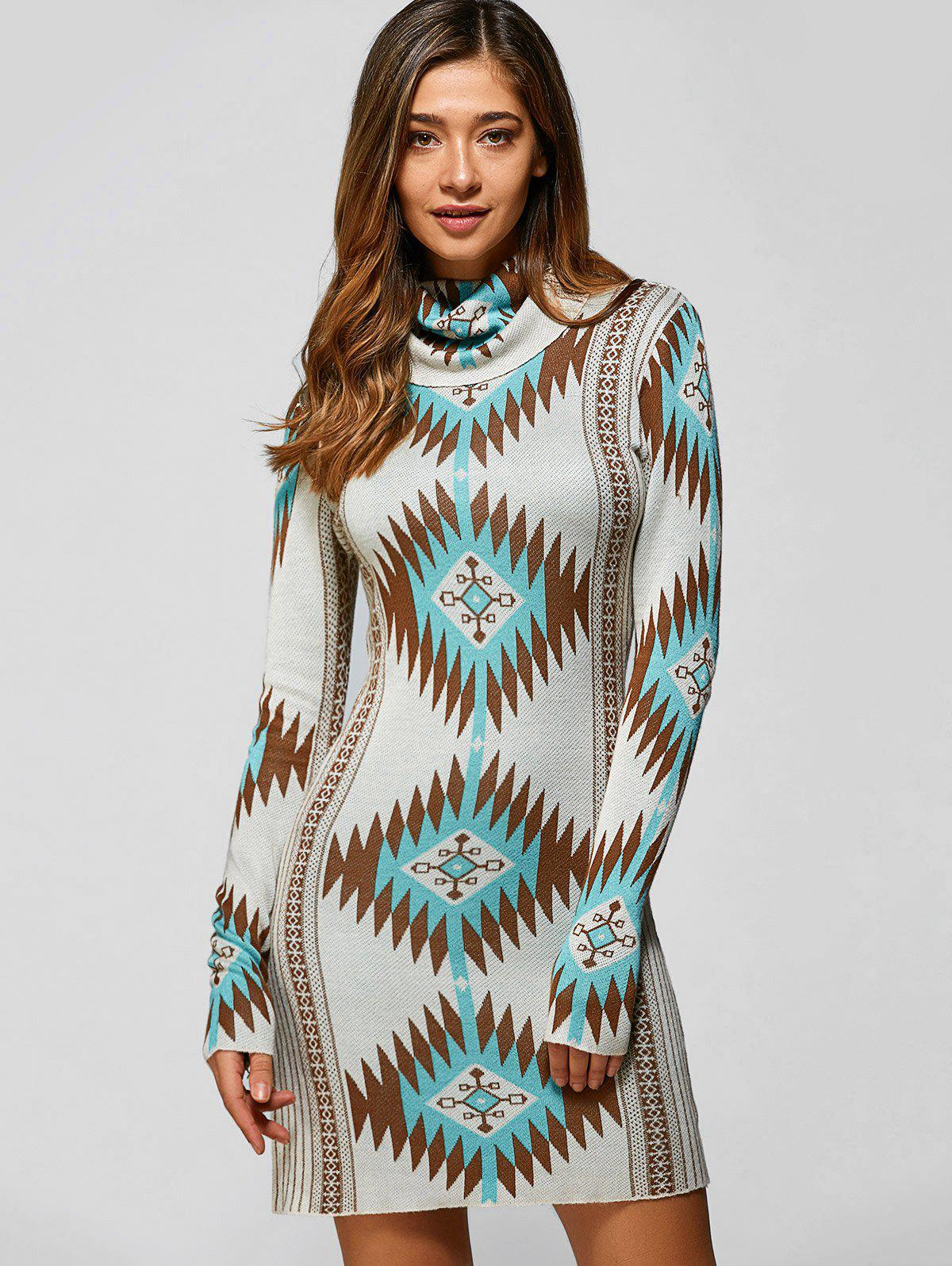 Turtle Neck Tribal Sweater Dress - LIGHT GREEN XL