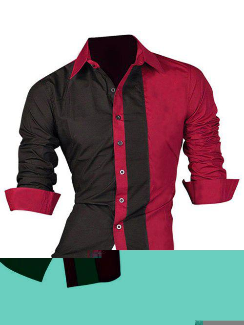 Long Sleeve Color Block Splicing Design Men's Shirt 189638856