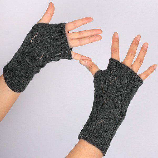 1 Pair Crochet Branch Pattern Fingerless  Gloves - DEEP GRAY