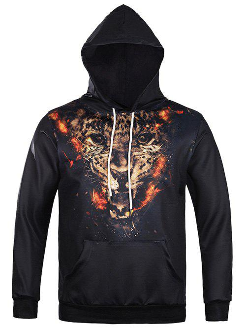 Kangaroo Pocket Tiger 3D Print Drawstring Hoodie - BLACK 3XL