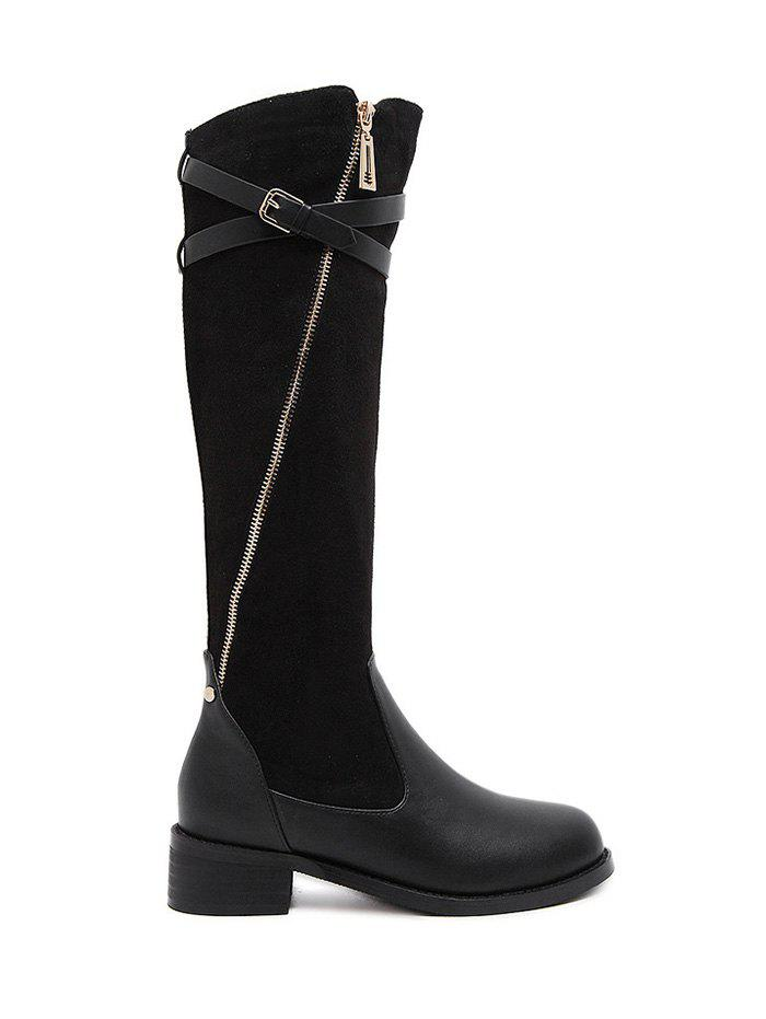 Buckle Splicing Cross Straps Boots сумка женская dakine stashable tote inkwell