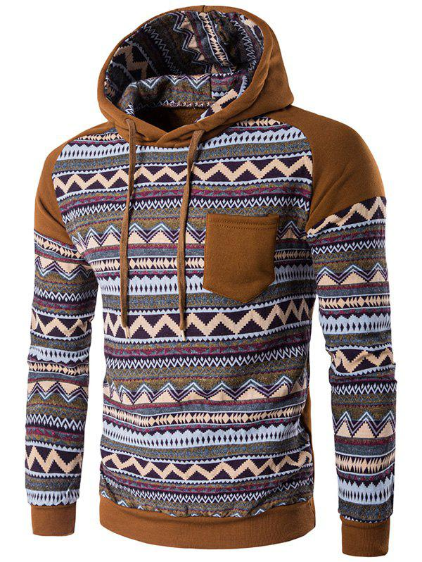 Hooded Pocket Raglan Sleeve Color Block Tribal Printed Hoodie - COFFEE M