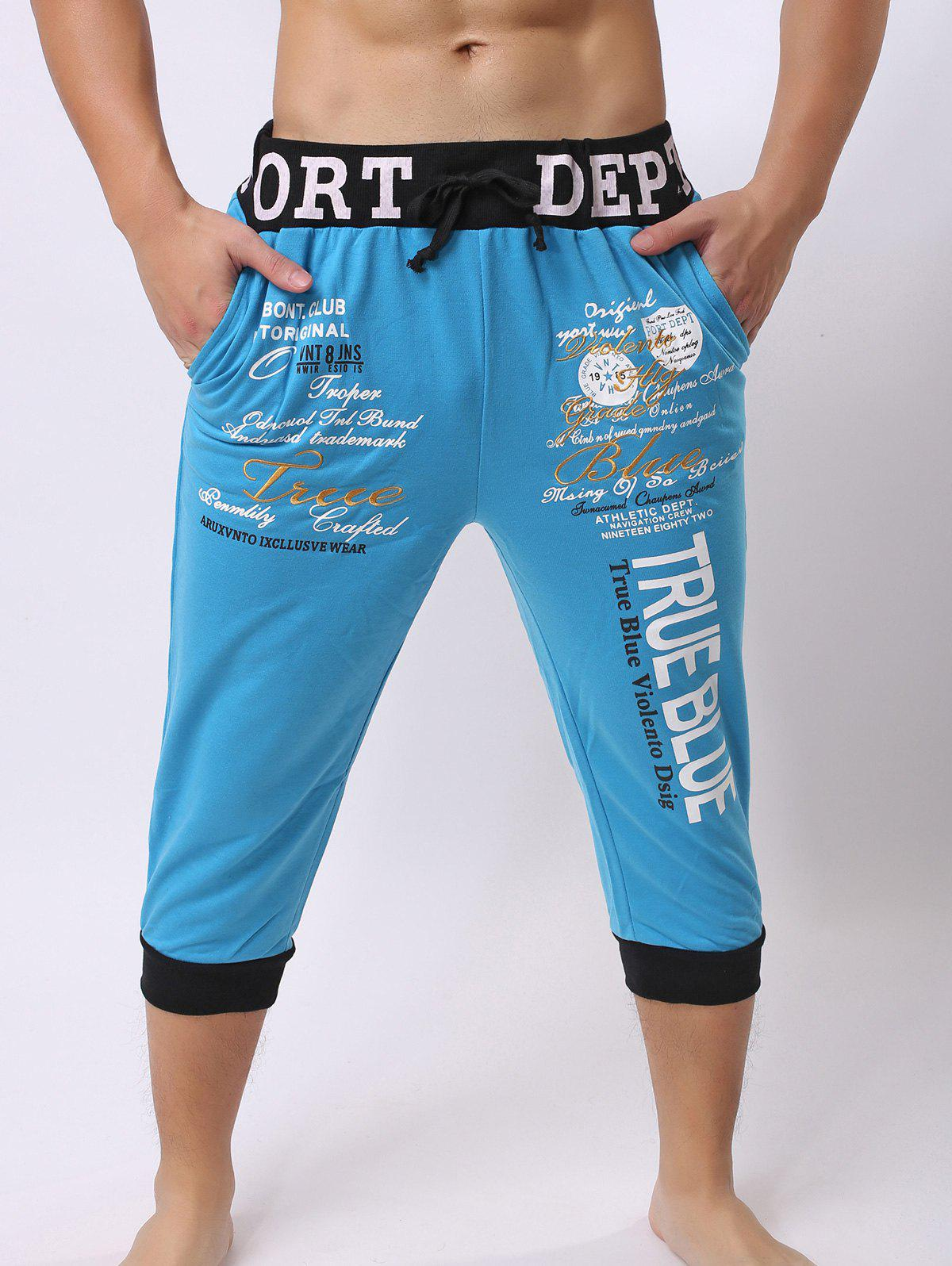 Lace-Up Color Block Spliced Letters Print Beam Feet Men's Jogger Shorts - BLUE L