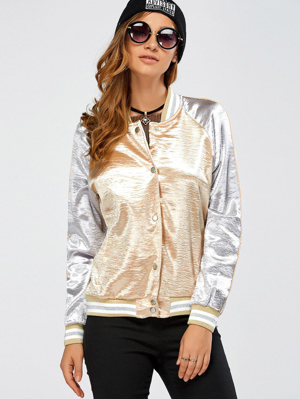 Autumn Lurex Color Block Baseball Jacket - Or S