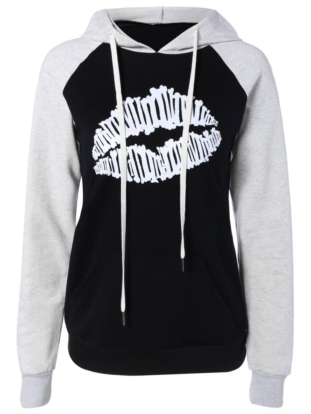 Raglan Sleeve Color Block Lip Print Hoodie - BLACK XL