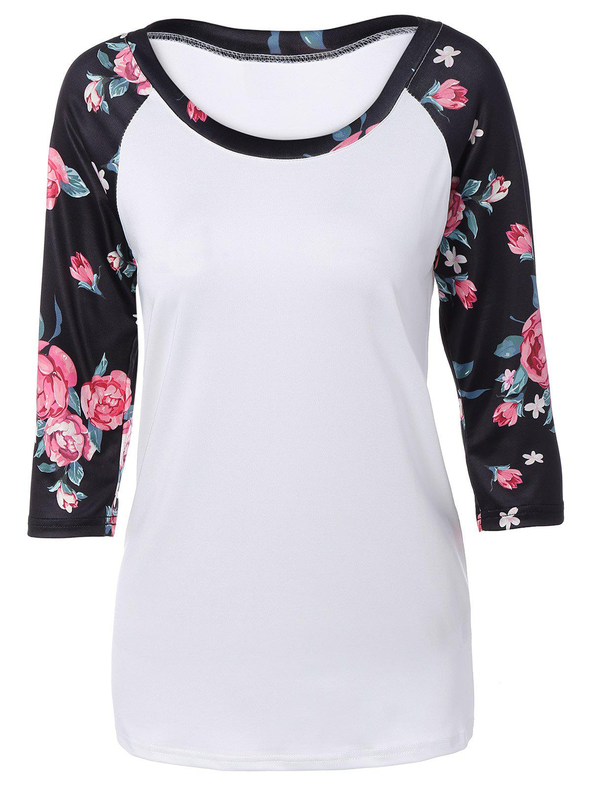 Autumn Floral Print Sleeve Casual T-Shirt - WHITE S