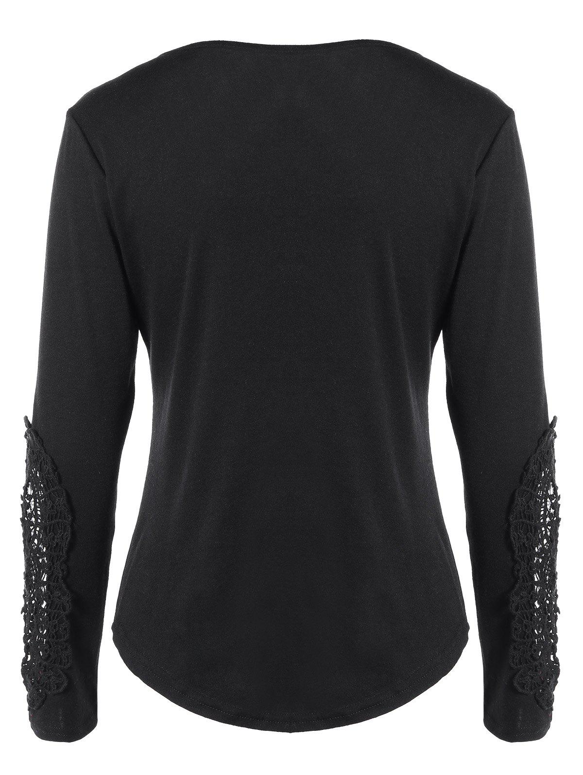 Concise Openwork Lace Buttons T-Shirt - BLACK XL