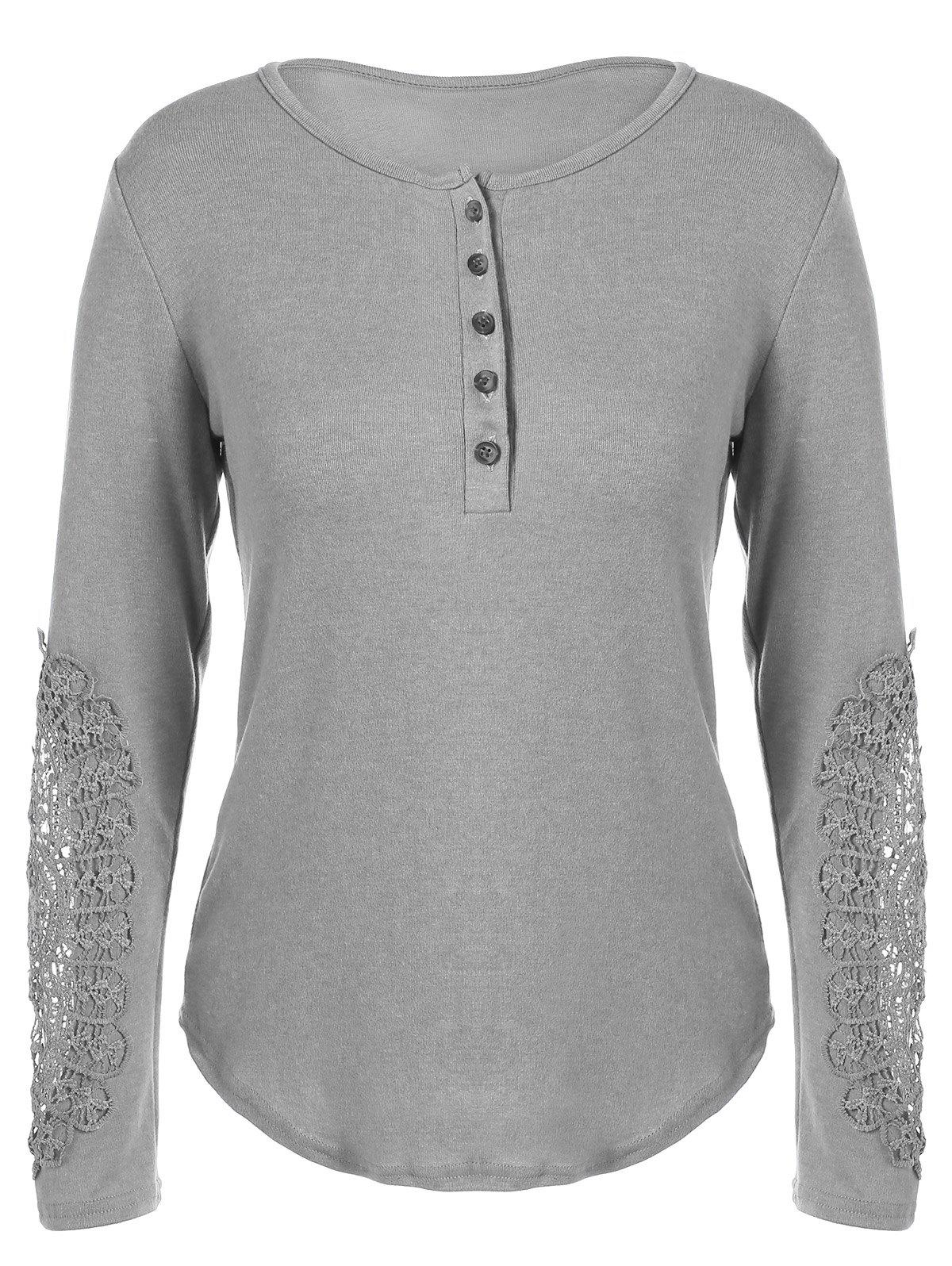 Concise Openwork Lace Buttons T-Shirt - GRAY S