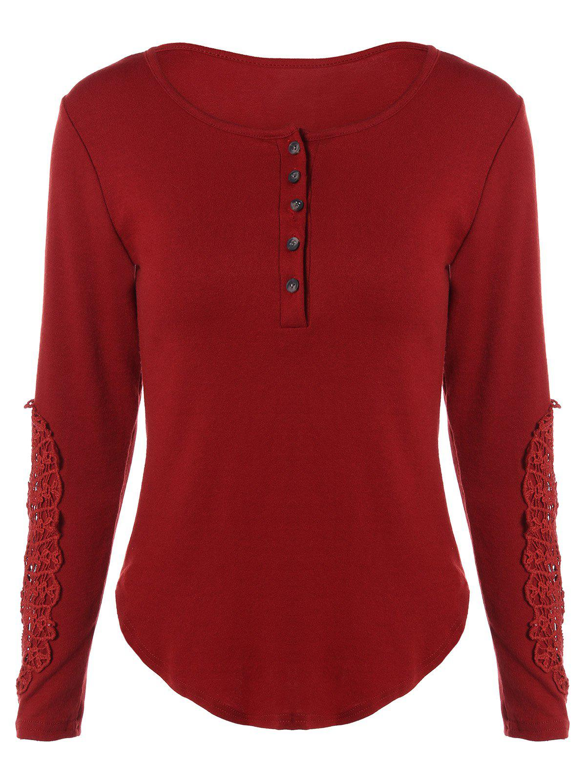 Concise Openwork Lace Buttons T-Shirt - WINE RED XL