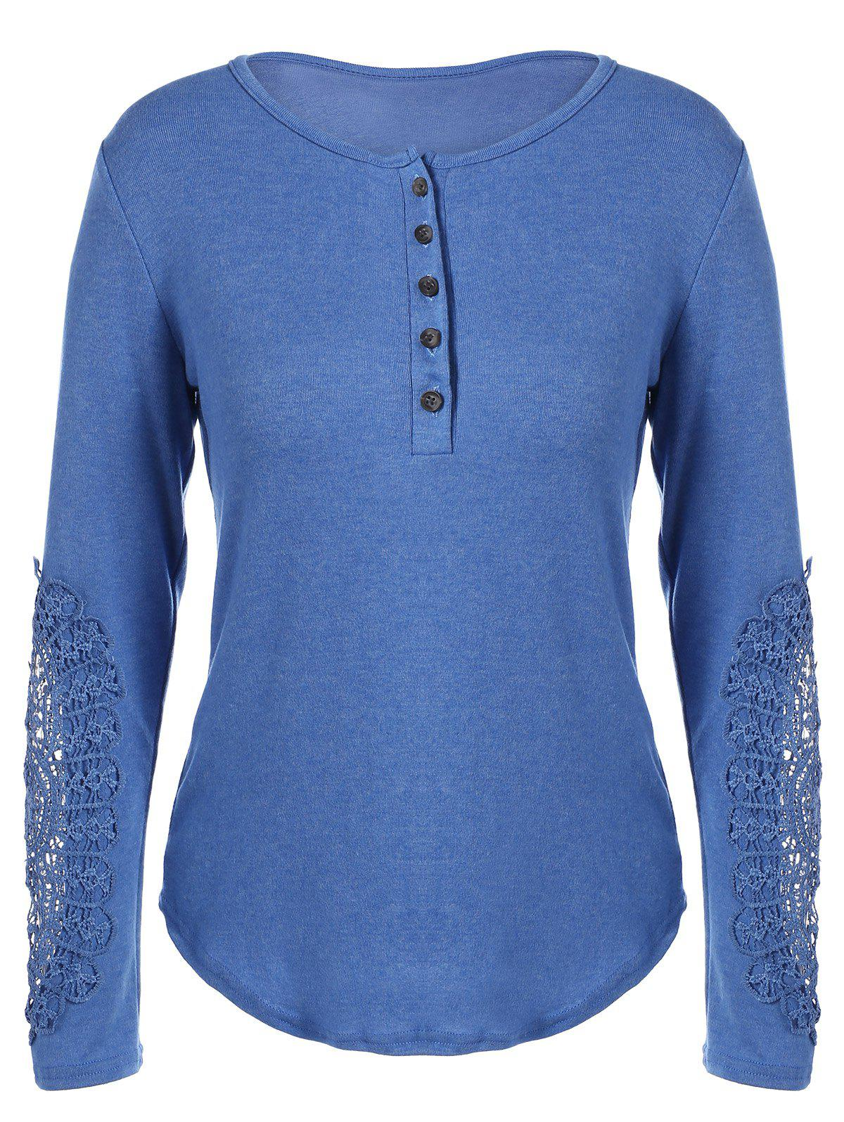 Concise Openwork Lace Buttons T-Shirt - BLUE S