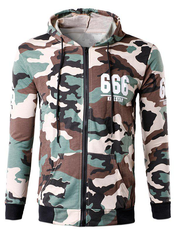 Zip-Up Star 666 Print Camouflage Hoodie - OFF WHITE L