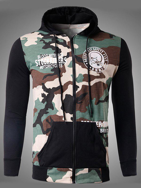 Skeleton Print Zip-Up Camouflage Hoodie - OFF WHITE L