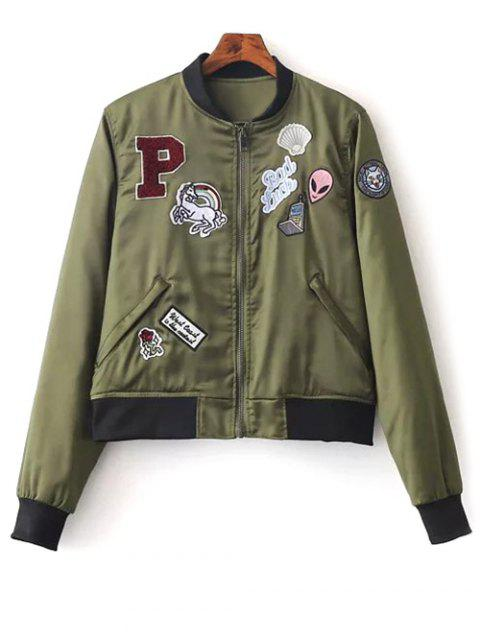 Patched Quilted Thermal Bomber Jacket - GREEN L