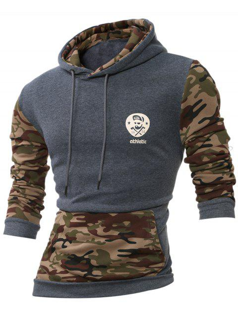 Kangaroo Pocket Camouflage Splicing Long Sleeves Hoodie - DEEP GRAY L