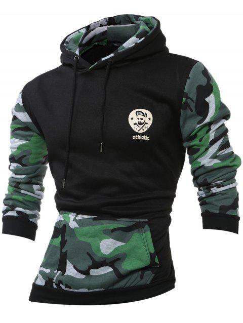 Kangaroo Pocket Camouflage Splicing Long Sleeves Hoodie - BLACKISH GREEN 2XL