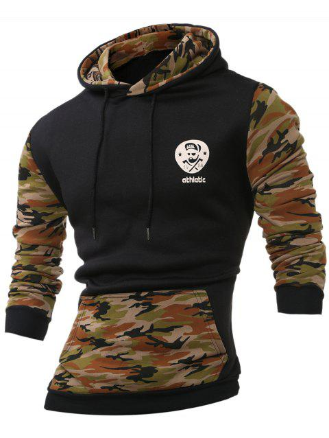 Kangaroo Pocket Camouflage Splicing Long Sleeves Hoodie - ARMY GREEN XL