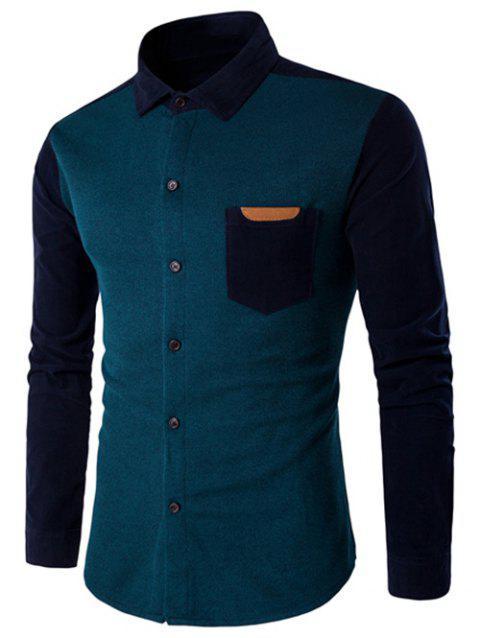 Color Block Long Sleeve Spliced Pocket Shirt - LAKE BLUE M
