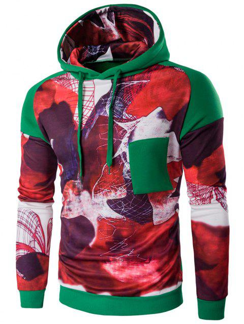 Color Block Printed Pullover Hoodie - GREEN XL