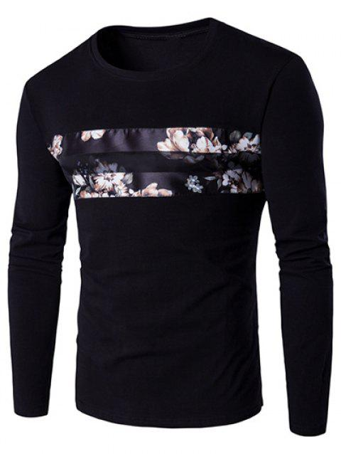 Round Neck Long Sleeve Floral Pattern T-Shirt - BLACK M