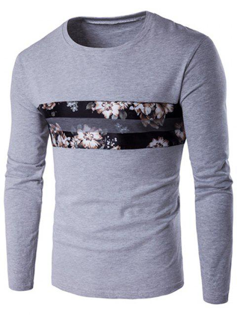 Round Neck Long Sleeve Floral Pattern T-Shirt - GRAY 2XL