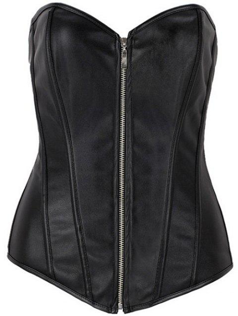 Zippered Faux Leather Lace-Up Corset - BLACK 5XL