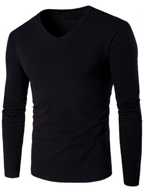 Slim Fit V Neck Long Sleeve T-Shirt - BLACK M