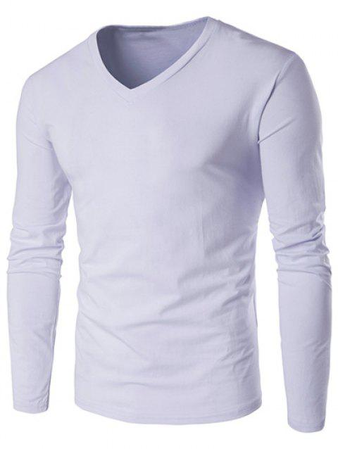 Slim Fit V Neck Long Sleeve T-Shirt - WHITE 2XL